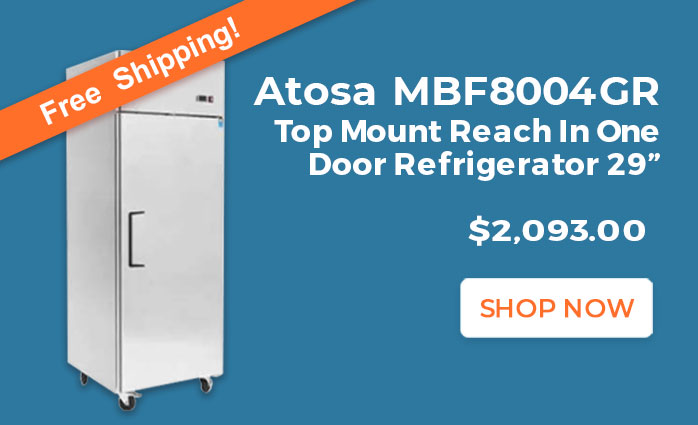 Free Shipping on Atosa MBF8004GR Top Mount Reach In One Door Refrigerator
